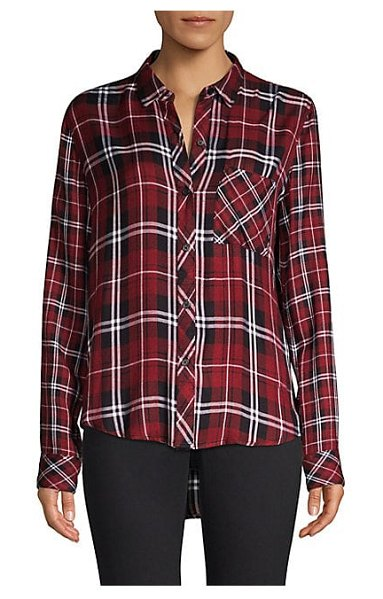 Rails liza button-down plaid shirt in wine black - Essential plaid shirt in relaxed button-front style with...