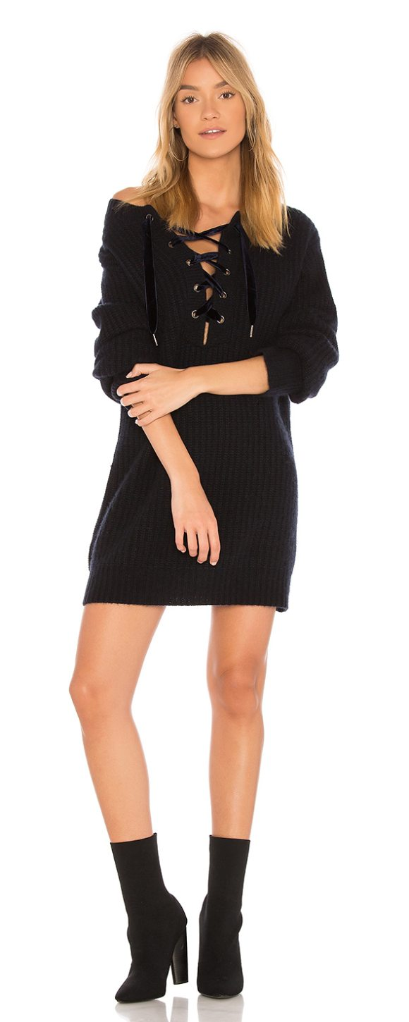 RAILS Nicole Sweater Dress - 70% wool 30% cashmere. Dry clean only. Unlined. Lace-up...