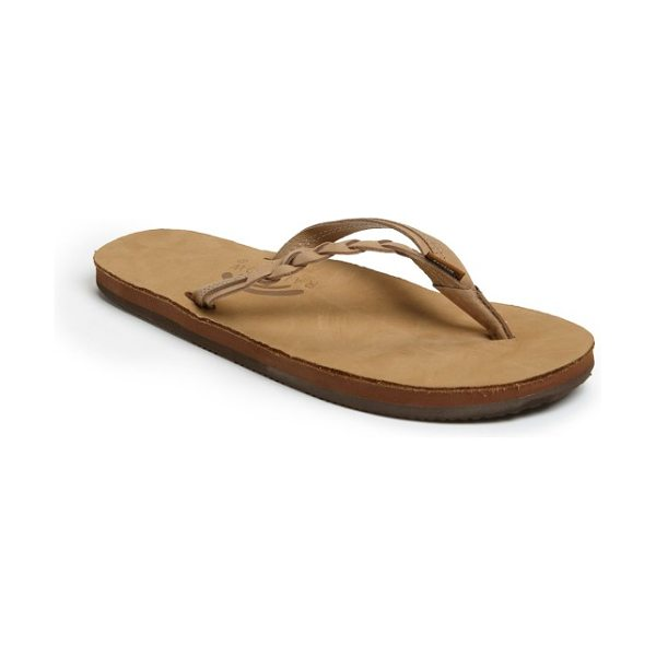 RainbowR rainbow 'flirty' braided leather flip flop in sierra brown