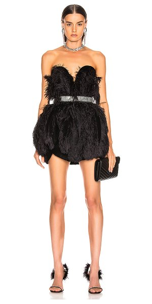 RAISA&VANESSA strapless feather mini dress in black