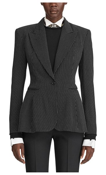 Ralph Lauren Collection Arding Pinstriped Pixelated Peplum Jacket in black/white