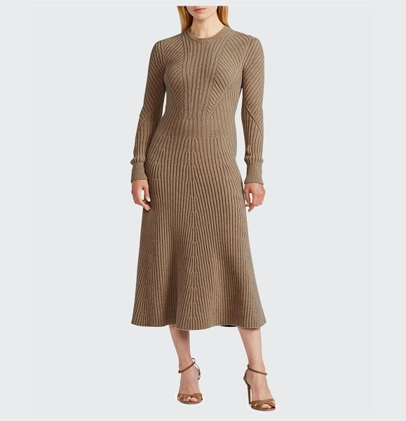 Ralph Lauren Collection Ribbed Cashmere Sweater Midi Dress in fawn mel