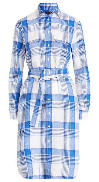 Ralph Lauren plaid linen shirtdress in linen