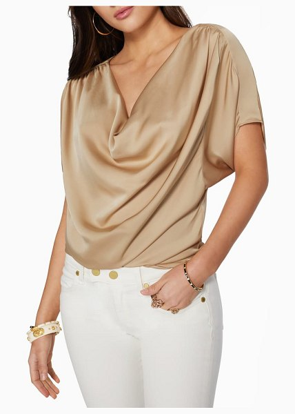 Ramy Brook dorothy draped satin top in sand