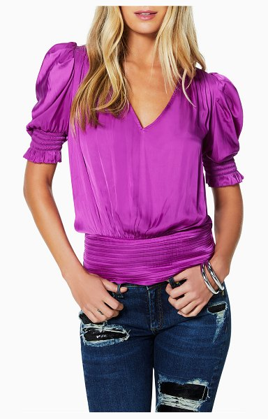 Ramy Brook Flora Satin Puff-Sleeve V-Neck Top in bright orchid