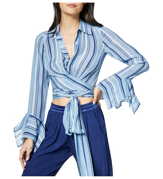 Ramy Brook Hayven Striped Button-Front Wrap Top in blue