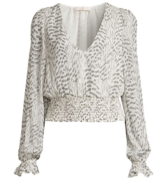 Ramy Brook kirsten abstract silk-blend blouson top in ivory black