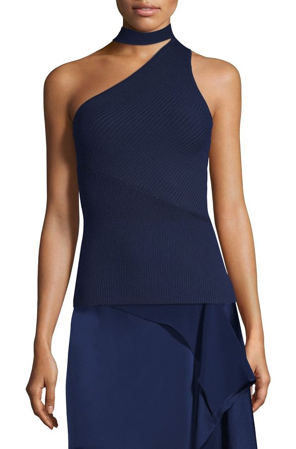 ef40a668caee2 Ramy Brook Portia Asymmetrical Ribbed Top in Blue