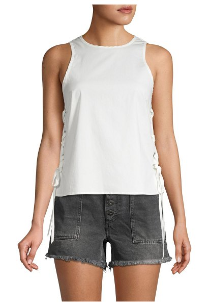 Ramy Brook Rory Side-Lacing Sleeveless Top in soft white