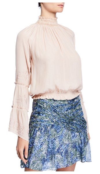 Ramy Brook Skye Embroidered High-Neck Top in blush