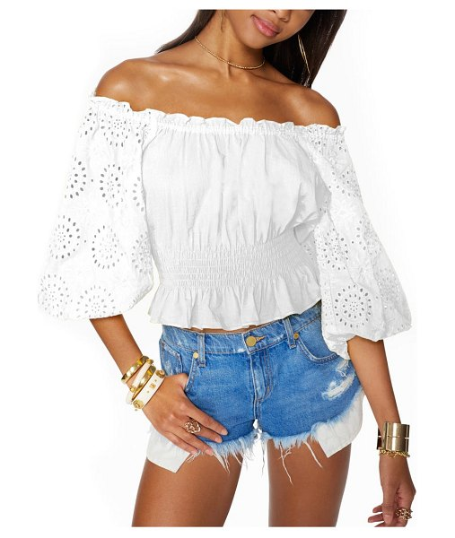Ramy Brook trish off the shoulder cotton eyelet blouse in ivory
