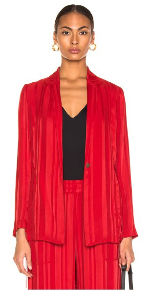 Raquel Allegra Relaxed Blazer in stripes,red - Self: 100% rayon - Contrast Fabric: 100% silk.  Made in...