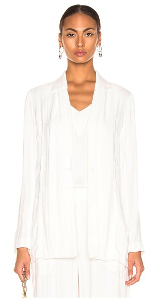 Raquel Allegra Relaxed Blazer in stripes,white - Self: 100% rayon - Contrast Fabric: 100% silk.  Made in...