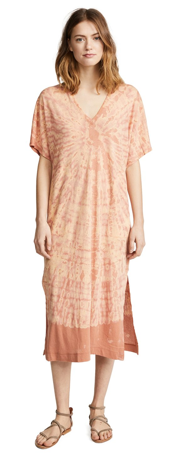 RAQUEL ALLEGRA v neck boxy dress - Fabric: Soft jersey Side slits Print pattern Pullover style...