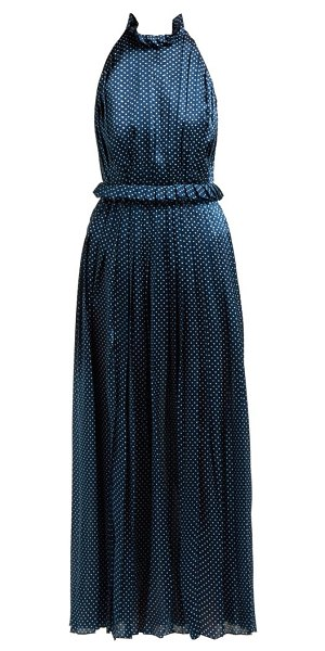 RAQUEL DINIZ aiko polka dot silk satin dress in navy white