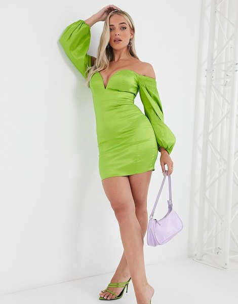 Rare london plunge front mini dress with volume sleeve detail in sage green in green