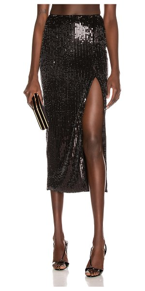 Rasario sequin midi skirt in black