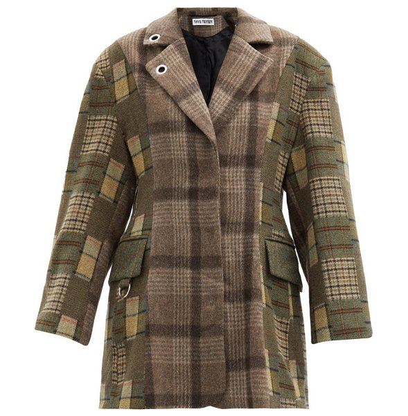 Rave Review single-breasted checked deadstock-wool blazer in khaki multi