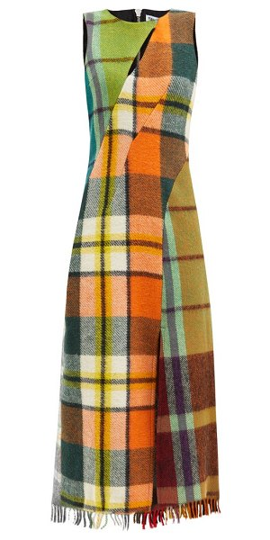 Rave Review upcycled checked-wool dress in multi