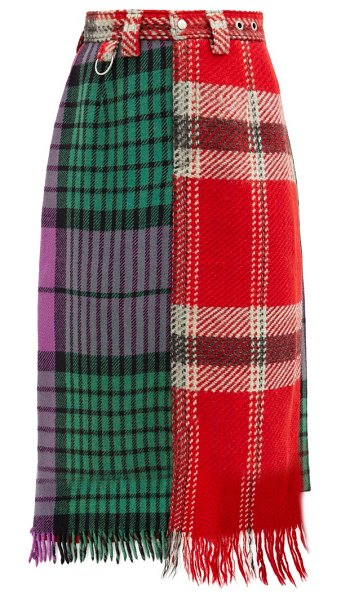 Rave Review upcycled checked-wool skirt in multi