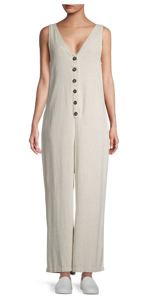 RD Style Sleeveless Woven Jumpsuit in oatmeal