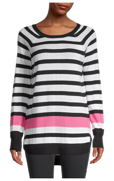 RD Style Striped High-Low Sweater in black