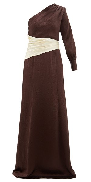 REBECCA DE RAVENEL helga one shoulder hammered silk gown in brown white