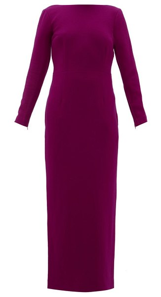 REBECCA DE RAVENEL jamie scoop-neck wool-crepe maxi dress in dark pink