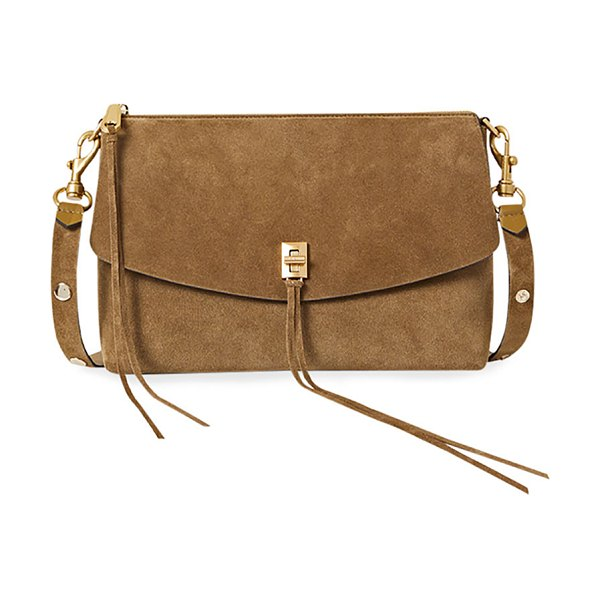 Rebecca Minkoff Darren Nubuck Leather Crossbody Bag in military suede