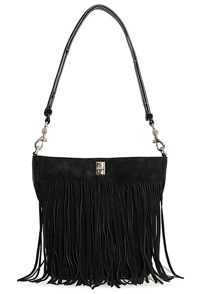 Rebecca Minkoff Darren Suede Fringe Bucket Bag in black fringe