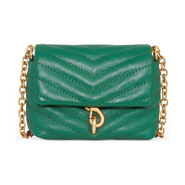 Rebecca Minkoff Edie Micro Quilted Leather Crossbody Bag in emerald