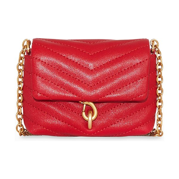 Rebecca Minkoff Edie Micro Quilted Leather Crossbody Bag in kiss