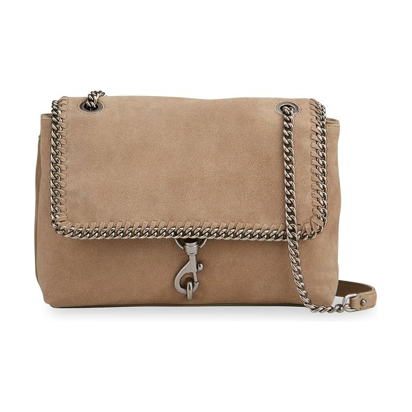 Rebecca Minkoff Edie Suede Woven Chain Flap Shoulder Bag in sandrift
