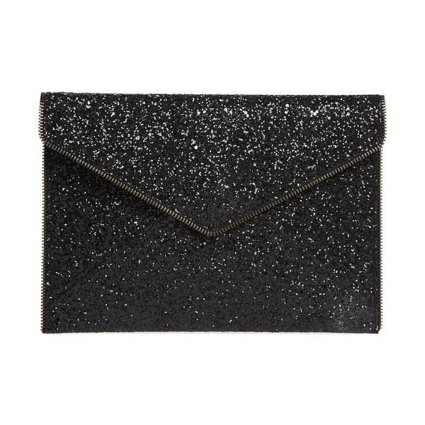 Rebecca Minkoff leo glitter clutch in black multi/ black hrdwr - Zipper-tooth trim frames the sleek silhouette of a...