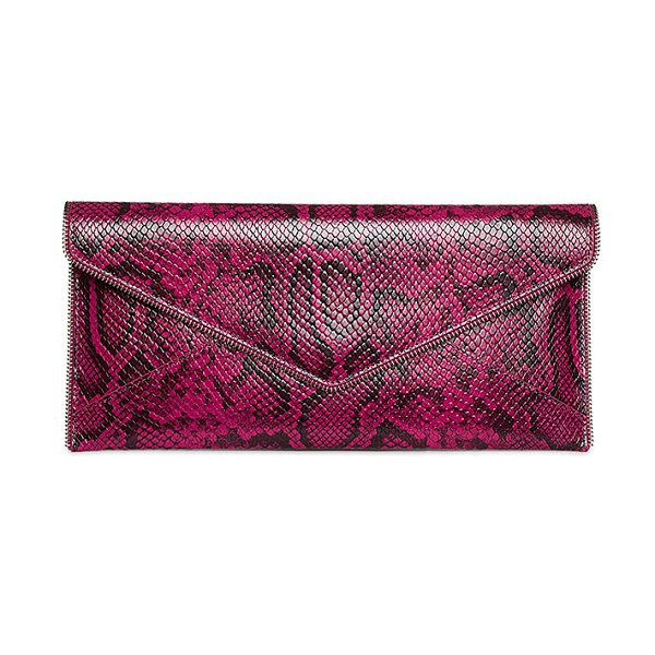 Rebecca Minkoff Leo Snake-Print Leather Clutch Bag in dk raspberry