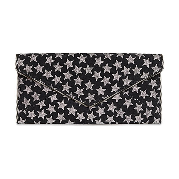 Rebecca Minkoff Leo Star-Print Leather Clutch Bag in blacksilver