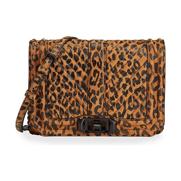 Rebecca Minkoff Leopard-Print Chevron Quilted Love Small Crossbody Bag in leopard