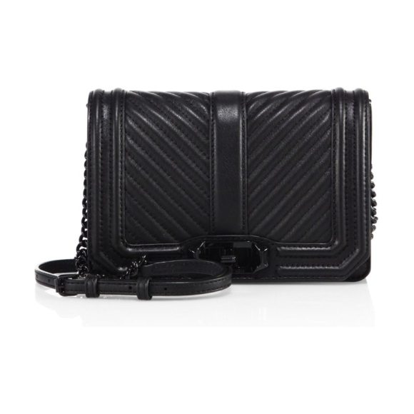 Rebecca Minkoff small love chevron quilted leather crossbody bag in black