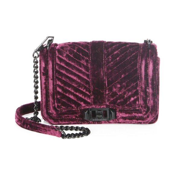 Rebecca Minkoff Love Small Chevron Quilted Velvet Crossbody Bag in dark cherry - Regal crushed velvet crossbody with quilted flap....
