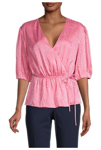 Rebecca Minkoff Mary Puff-Sleeve Wrap Peplum Top in punch pink