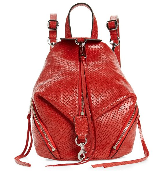 Rebecca Minkoff mini julian snake embossed leather convertible backpack in tomato