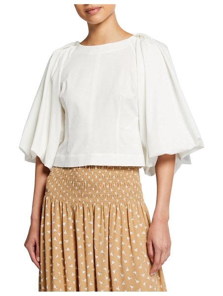 Rebecca Taylor Balloon-Sleeve Cropped Top in white