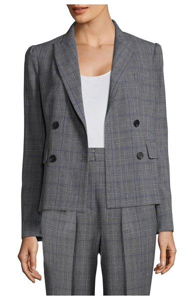 Rebecca Taylor Checked Wool Blazer in black combo - Wool double breasted blazer in checked print. Peak...