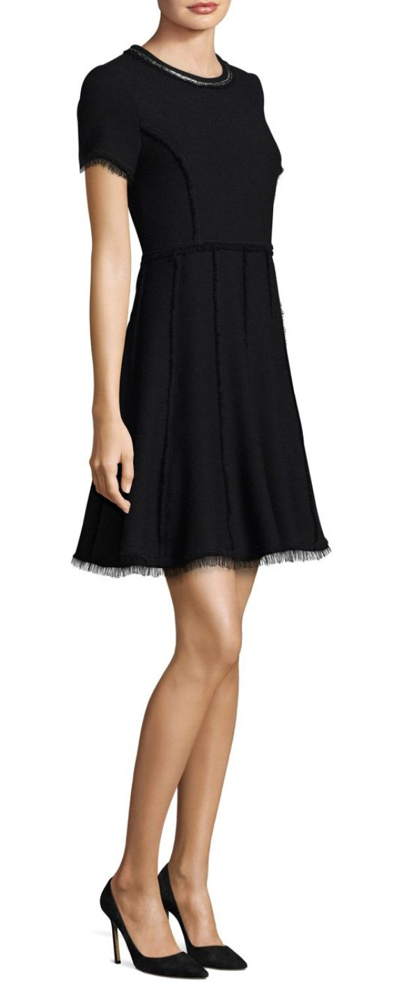 Rebecca Taylor Fit Flare Tweed Dress In Black Combo A Line
