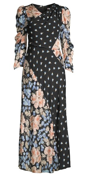 Rebecca Taylor floral mix print dress in black combo