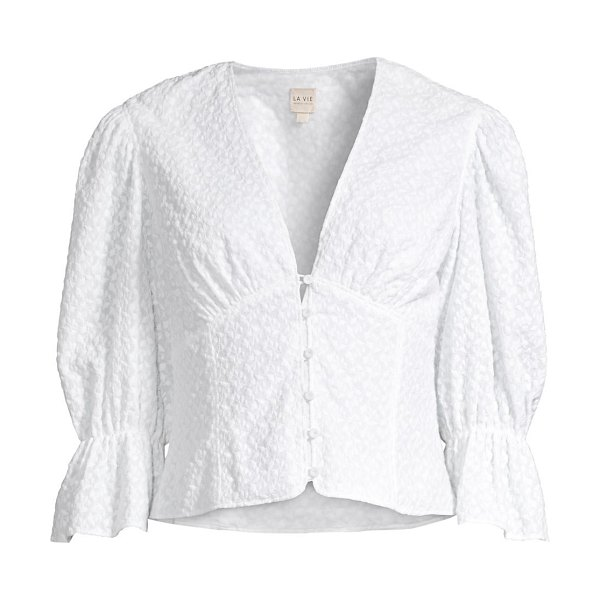 Rebecca Taylor leaf embroidered button-front top in milk