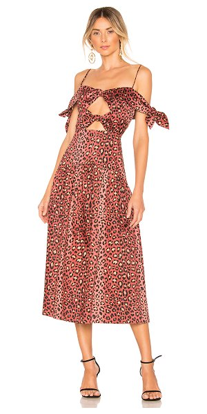 Rebecca Taylor Leopard Bow Dress in brown - Silk blend. Dry clean only. Fully lined. Tie sleeves...