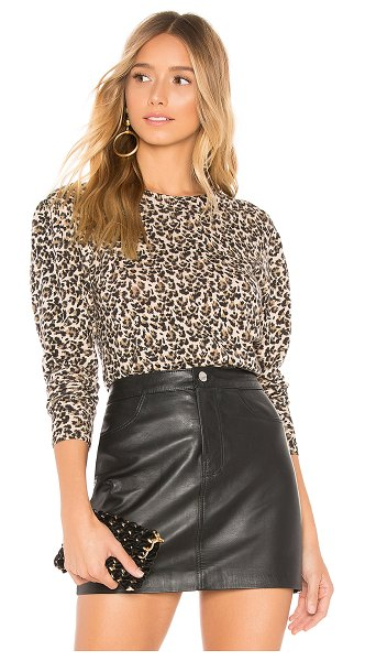 Rebecca Taylor Leopard Sweater in brown - Wool blend. Hand wash cold. Knit fabric. Rib knit trim....