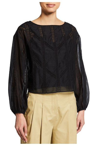 Rebecca Taylor Long-Sleeve Cotton Organza Blouse in black