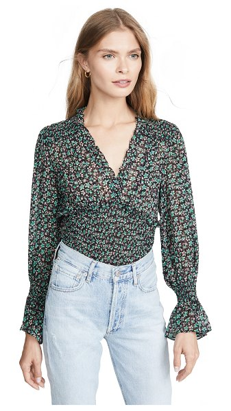 Rebecca Taylor long sleeve louisa smock top in malachite combo